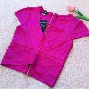 Bebe Pink Bandage Crop Top